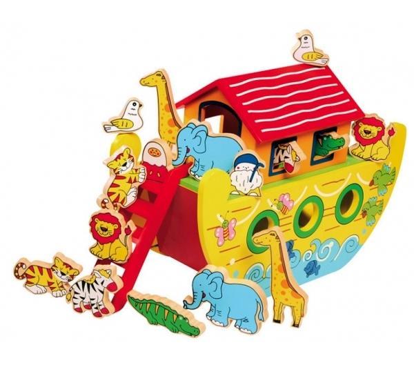 Arche de Noé en bois - Jouet éducatif - Livré avec 16 personnages