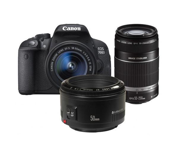 EOS 700D camera met 18-55mm, 55-250mm en 50mm lens