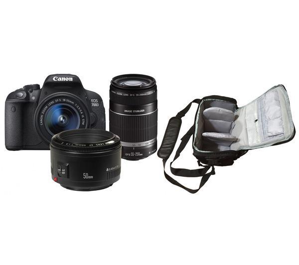 700D + EF-S 18-55mm STM + EF-S 55-250mm STM + EF 50mm STM + professionele camera tas