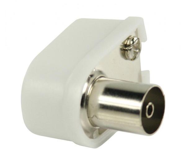 Connecteurs coaxiaux coudés à fiche coaxiale femelle blancs