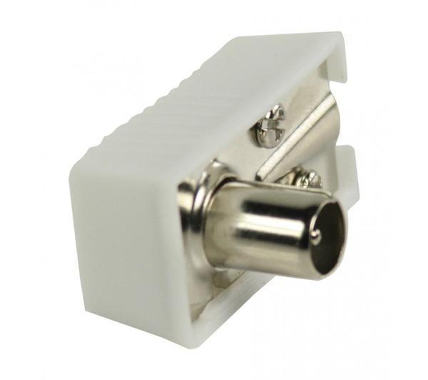 Connecteurs coaxiaux coudés à fiche coaxiale mâle blancs