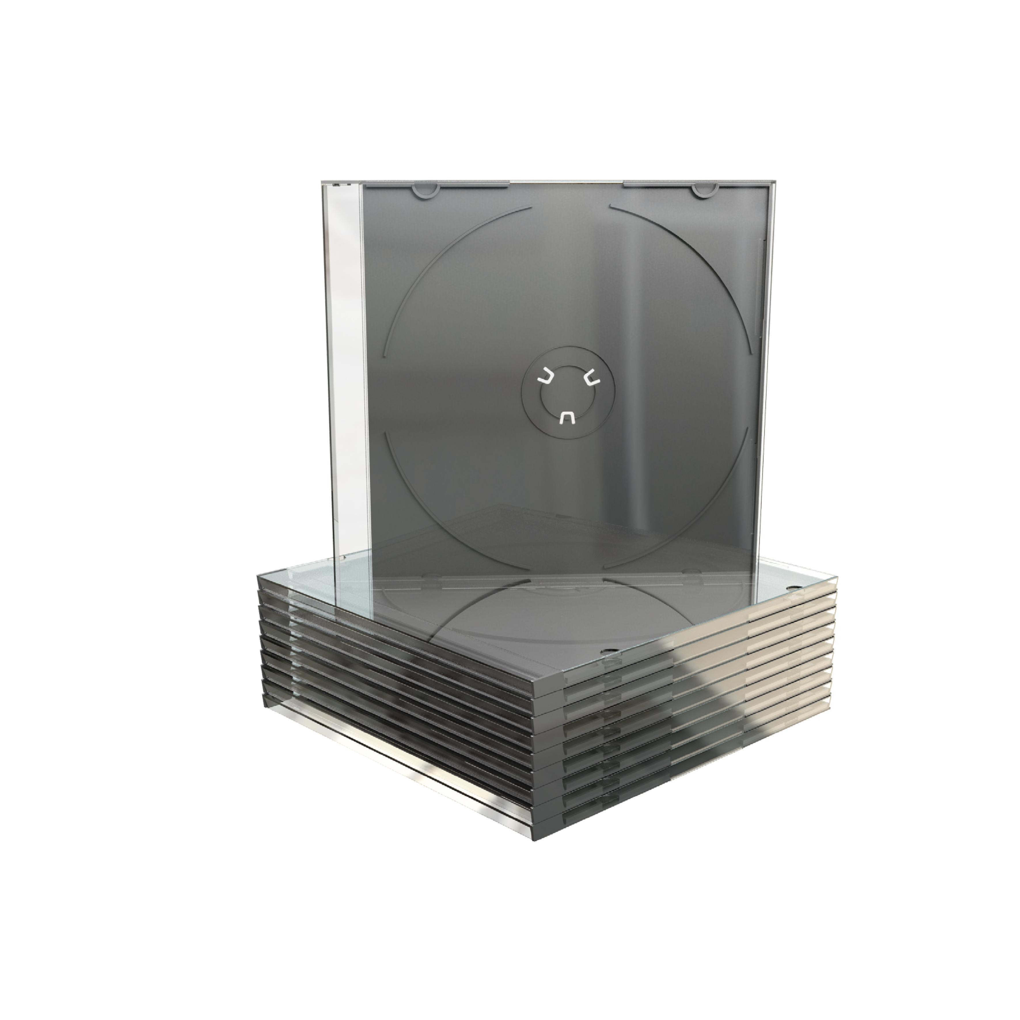 Slimcase, Boîtier Crystal fin (5mm, fond noir) pour CD / DVD, 100 pièces