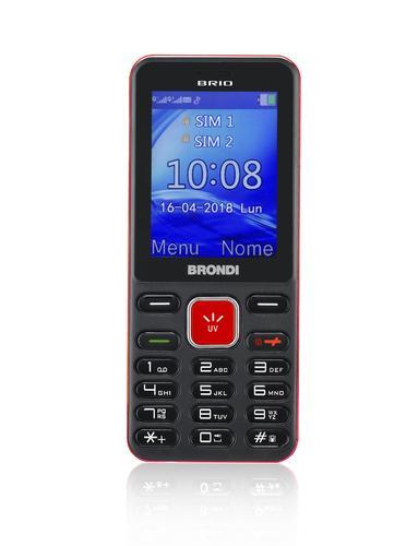 """brio 6,1 cm (2.4"""") 69 g Noir, Rouge Téléphone d'entrée de gamme"""