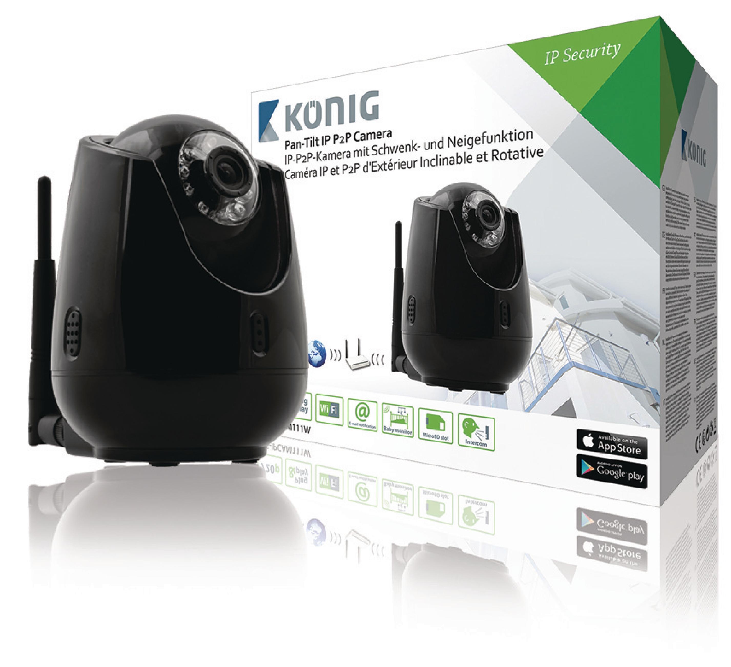 HD Caméra De Surveillance IP Pan Tilt Intérieur 720P Noir