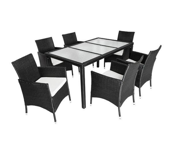Salon de jardin 6 chaises rotin résine tressé synthétique noir coussins housses 2108007