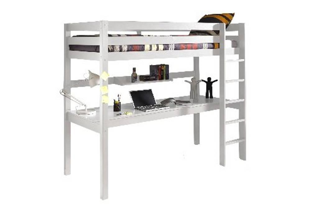 Lit mezzanine inside lit bureau mezzanine pino en pin vernis