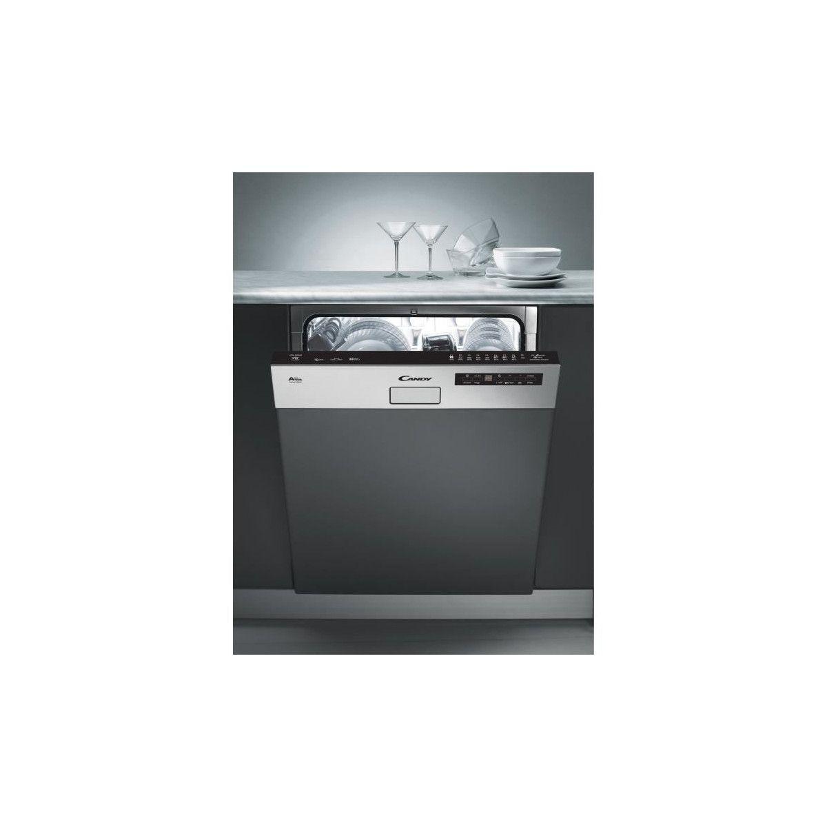 pas mal cd51e dbb44 CANDY CDS2D35X - Lave vaisselle encastrable - 13 couverts - 46 dB - A++ -  Larg 60 cm - Bandeau inox