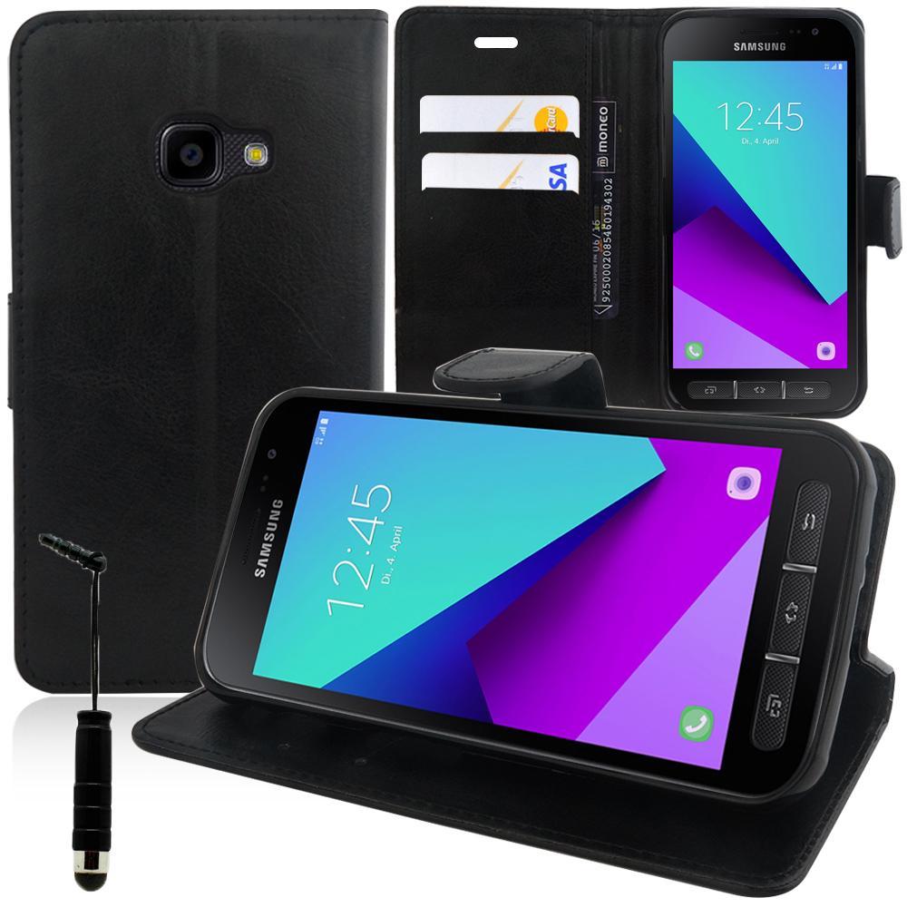 arrive obtenir de nouveaux prix raisonnable VCOMP VCOMP® Housse Coque Etui portefeuille Support Video Livre rabat cuir  PU pour Samsung Galaxy Xcover 4 SM-G390F + mini stylet - NOIR