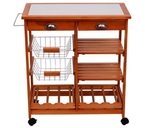 Table - Homcom - Meuble Rangement Cuisine Chariot De Service