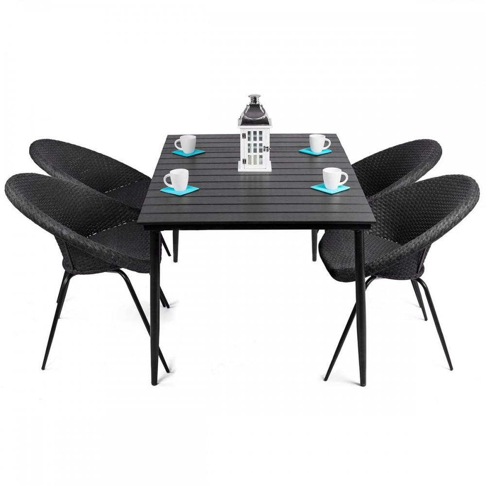 Leon salon de jardin table 4 chaises rondes en rattan