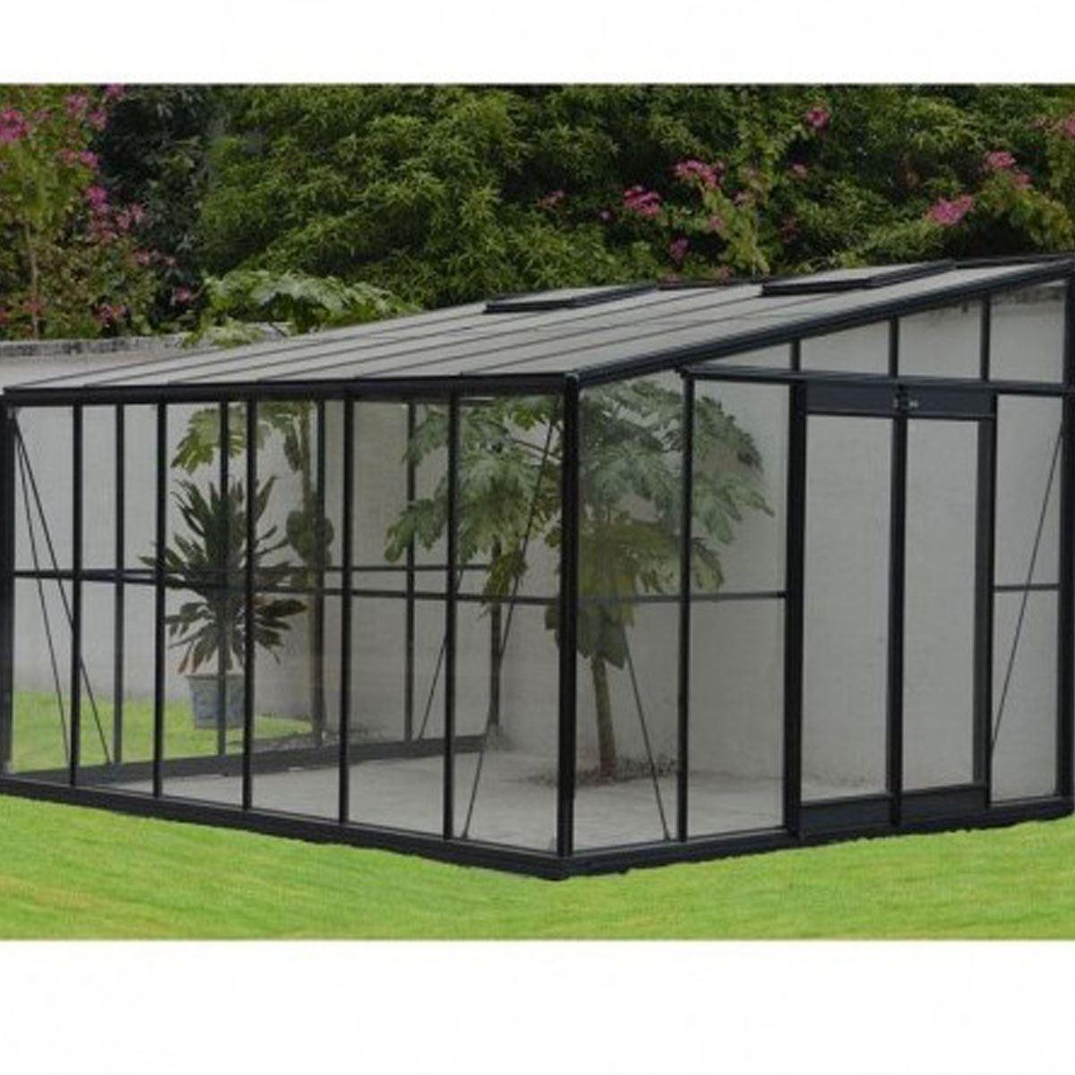 Serre de jardin grise jardin dhiver 12m adossable avec base