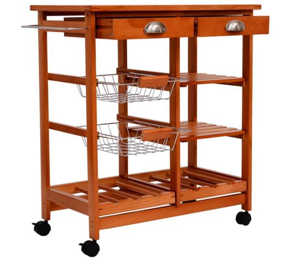 Table homcom meuble rangement cuisine chariot de - Table roulante en bois ...