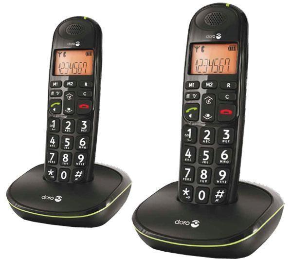PhoneEasy 100W Duo - Snoerloze telefoon met nummerherkenning - DECT\GAP - zwart + 1 additionele handset(s)