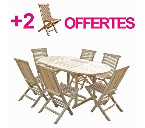 Ensemble salon de jardin en teck solo 6 chaises bundle 2 chaises