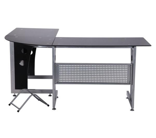 bureau dinformatique angle pour ordinateur meuble table de travail plateaux en verre fume tremp - Meuble D Angle Ordinateur
