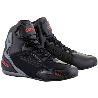 bottes moto cuir homme etanche noire et rouge