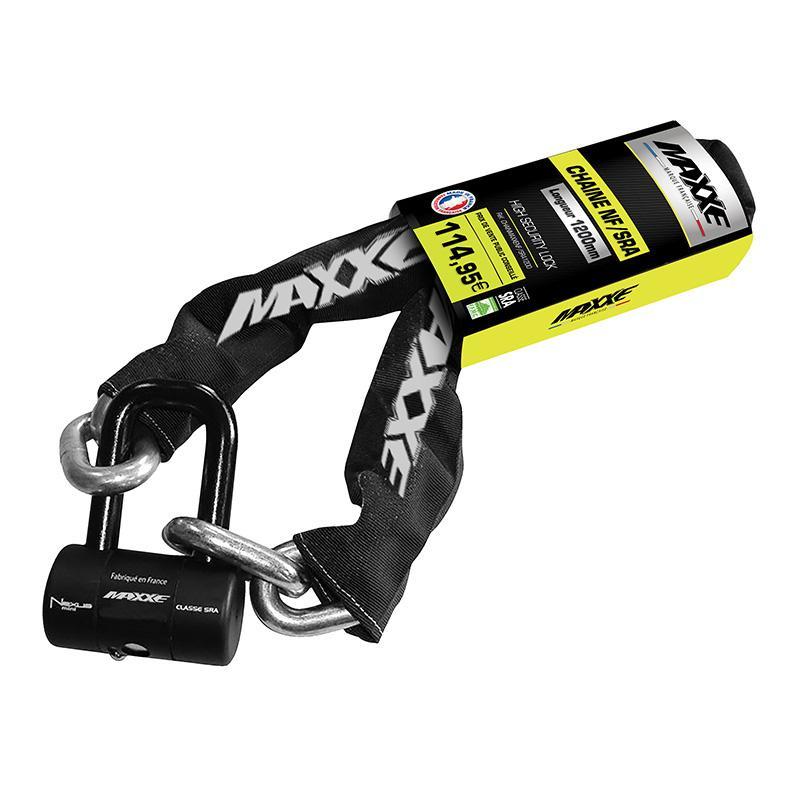 MAXXE-Chaîne Antivol 120 Cm + Bloque Disque