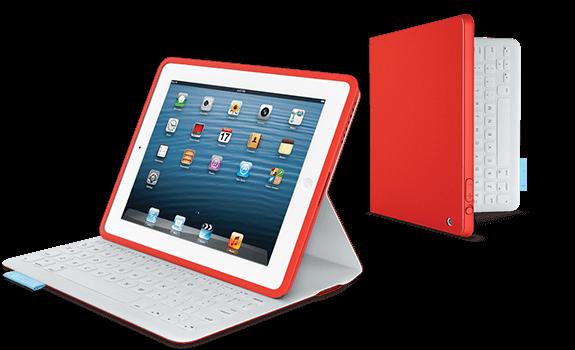 FabricSkin Folio iPad 2/3/4 - Rouge - Etui avec clavier US QWERTY